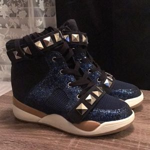 Blue Glitter & Suede Wedge Sneakers - Never Worn